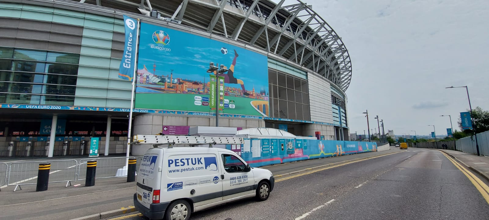 Pest control at Wembley stadium during the Euro 2020 football games.